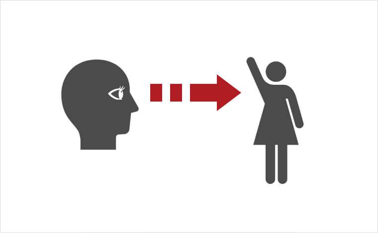 Lookの使い方図解。人物が別の人物に視線を向けて見ているイラスト画像。