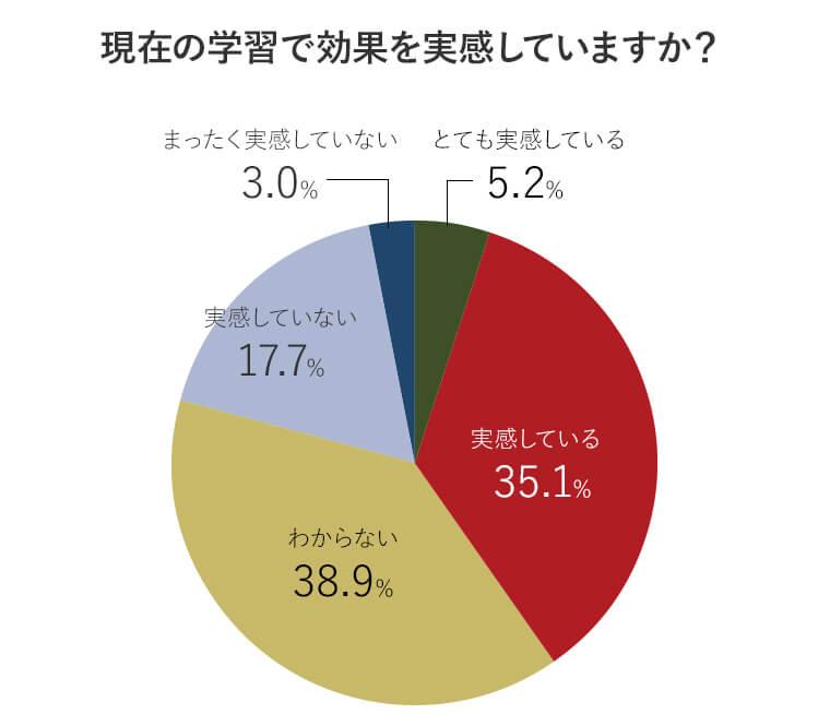 アンケート回答者の現在の英語学習法の満足度を表す円グラフ