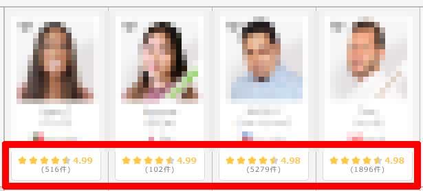 DMM英会話の講師評価が確認できる画面