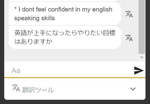 チャット翻訳機能のキャプチャ画像